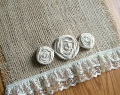 "Burlap Table Runner - Ruffled Lace 12""x72"" (Custom sizes also available) Tablerunner"