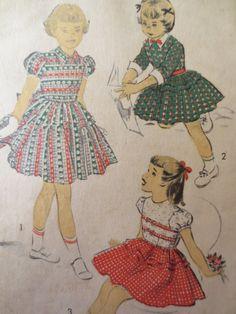 Vintage Advance 5615 Sewing Pattern, Girls Dress Pattern, Little Girl Dress, 1940s Sewing Pattern, Breast 26, Puff Sleeves, Sash, Cuffs