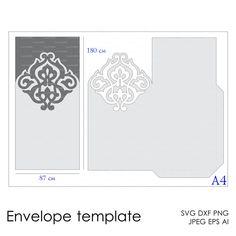 Descarga instantánea de la plantilla corte archivo (svg, dxf, ai, eps, png) para imprimir papel para sobres corte scrapbooking Silhouette Cameo