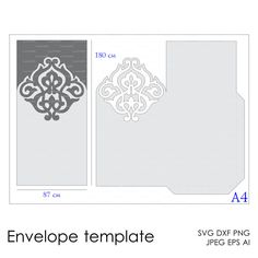 Envelope Template Instant Download cutting file (svg, dxf, ai, eps, png) printable paper cut scrapbooking Silhouette Cameo