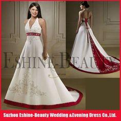 Hot sale halter neckline deep V neckline corset red and white wedding dresses 2012