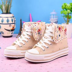 Floral Print Fold Over Platform Shoes Thick Sole Sneaker. Exactly what I've been drawing and looking for!