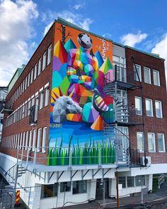 Okuda in Stockholm, Sweden, 2019 Street Wall Art, Okuda, Graffiti, Fair Grounds, Stockholm Sweden, Artist, Spain, Painting, Instagram