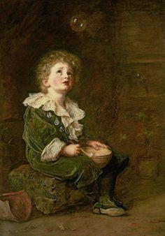 Sir John Everett Millais Figure Painting, Painting Art, Paintings, Pre Raphaelite Brotherhood, John Everett Millais, Baronet, Bubble Art, Blowing Bubbles, Soap Bubbles