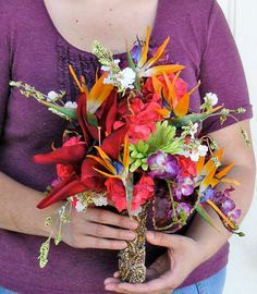 Tropical Bird of Paradise Crimson Lily Coral by ExpressionsFloral....This is my bouquet!!!!!!!!