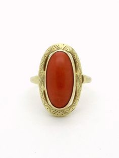 Antique Coral Ring - 14K Gold Ring Size 8 - Natural Red Coral - Antique Golden Ring - Victorian / Edwardian 5 Carat Coral Ring from VintageArtAndCraft