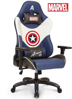 Amazon.com : Licensed Marvel Avengers Captain America Superhero Ergonomic High-Back Swivel Racing Style Desk Home Office Executive Computer Video Gaming Chair with Headrest and Lumbar Support, Neo Chair : Office Products #officeergonomics #ergonomicofficechair