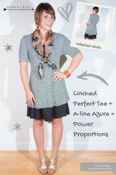 LuLaRoe Key Piece #4: Azure Skirt, Black Under Cinched Perfect Tee | How to Style a LuLaRoe Perfect Tee