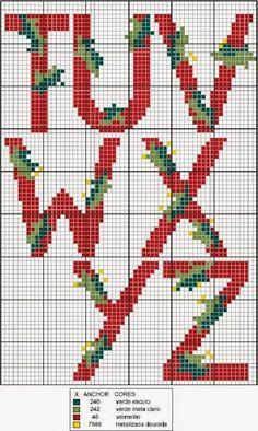 Schemi punto croce di alfabeti e iniziali per Natale
