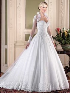 25b522b5b76a Ball Gown Sweetheart Tulle Lace Pearl Beaded Wedding Dress With Long Sleeve  Jacket#bridalgown#jacket#weddings