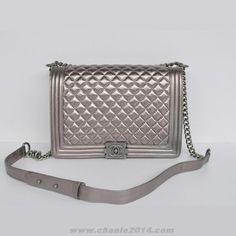 ca69e742262 Chanle 2014 Chanel A67087 Silver Sheepskin Leather Le Boy Flap Shoulder Bag  Discount