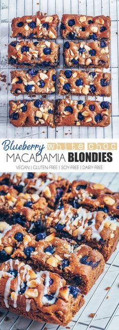 Blueberry White Chocolate Macadamia Blondies #healthier #vegan #glutenfree