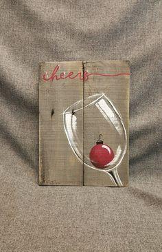 Vino de Navidad, plataforma de la pared decoración arte saludos, bulbo rojo de Navidad, decoración Navidad, madera recuperada, apenado vino vidrio, pintado a mano