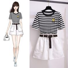Classic Striped T-Shirt + Shorts Set – Orchidmet Fashion Drawing Dresses, Fashion Illustration Dresses, Fashion Dresses, Drawing Fashion, Girls Fashion Clothes, Teen Fashion Outfits, Cute Casual Outfits, Stylish Outfits, Silhouette Mode