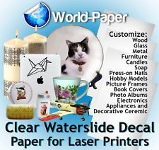 White Laser Waterslide Decal Transfer Paper 8.5 x 11, 10 sheets