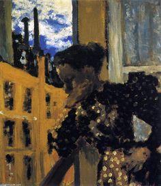 Marie à la balustrade du balcon, huile sur panneau de Edouard Vuillard (1868-1940, France)