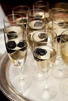 Champagne and Black Berries Art Deco drinks libations decoration 1920s Great Gatsby Party wedding roaring 20s vintage food spread cocktails cocktail theme