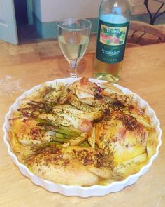Chicken with potatoes, onions, garlic and rosemary