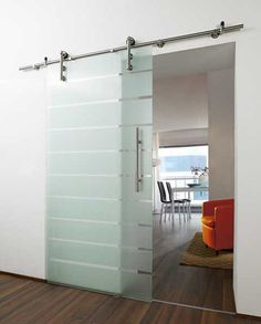 modern barn door. ooh, very cool.