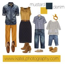 Mustard + Denim family outfit inspiration: what to wear for a family photo session in the spring or summer. Created by Kate Lemmon, www.kateLphotography.com