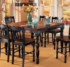 butterfly leaf counter height table black amp cherry stain middot home kitchen dining : black kitchen dining sets