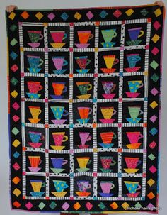 Periwinkle Quilting and Beyond: Quilt Gallery  Cuppaz pattern from Stargazey. No paper piecing. Instructions result in wonky, funky blocks. Fun. Jan Mullins, pattern designer.