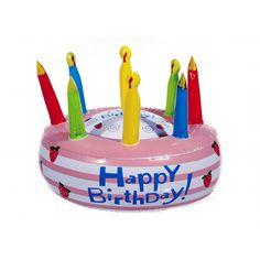 Opblaasbare verjaardagstaart happy Birthday. Deze vrolijk taart heeft een diameter van circa 26 cm.