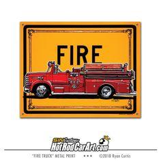 1958 Diamond T Van Pelt Fire Truck  - Metal Street Sign