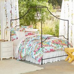 Beautiful Blooms Duvet Cover + Sham // Pure cotton and painterly depictions of blossoms combine to create a thoroughly enchanting sleep space.