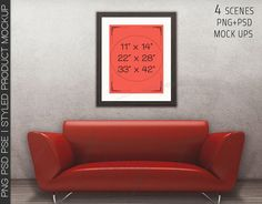 8x10 11x14 Black Wooden Portrait & Landscape Matted Frame Red Sofa Wall Interior, 4 Print Display Mockups, PNG PSD PSE, Styled Image 16x20