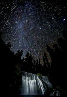 Meteor shower, McCloud Falls in Northern California