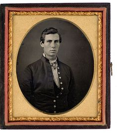 Early Sixth Plate Daguerreotype of Distinguished New Hampshire Politician Natt Head Shown here wearing a Mexican War period military coat as Drum Major of the 11th Regiment New Hampshire Militia, ca 1847