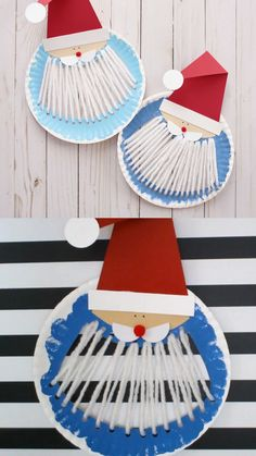 Paper plate Santa Paper plate Santa craft for preschoolers , kindergartners and older kids. Use yarn to make Santa beard. Kids will use their fine motor skills for this easy Christmas craft. Santa printable template available. Kids Crafts, Preschool Christmas Crafts, Santa Crafts, Winter Crafts For Kids, Christmas Activities, Toddler Crafts, Yarn Crafts, Halloween Crafts, Holiday Crafts