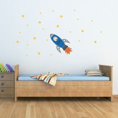 Rocket Wall Decal with Boys Name and stars by StephenEdwardGraphic, $30.00
