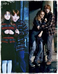 Ron and Hermione. I love how in the first picture, he's hiding behind her. In the second picture, he's protecting her. *sniff* in the first Hermione looksnso used to that tho lol Harry Potter World, Harry Potter Universe, Photo Harry Potter, Blaise Harry Potter, Objet Harry Potter, Mundo Harry Potter, Harry Potter Love, Harry Potter Fandom, Harry Potter Memes