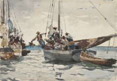 Eight Bells by Winslow Homer. Realism. genre painting. Private Collection