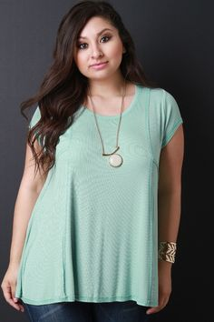 db592ce072bac Rib Knit Causal Pieced Top. This plus size top features a scoop neckline