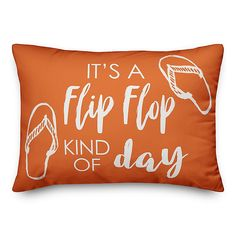 Spruce up your outdoor seating with the Flip Flop Kind of Day Throw Pillow from Designs Direct. Featuring a whimsical phrase on the front, this orange pillow is water and mildew resistant, adding a chic look to any setting. Floral Throws, Floral Throw Pillows, Throw Pillow Sets, Outdoor Throw Pillows, Lumbar Pillow, Orange Pillows, Velvet Pillows, King Duvet Cover Sets, Comforter Sets