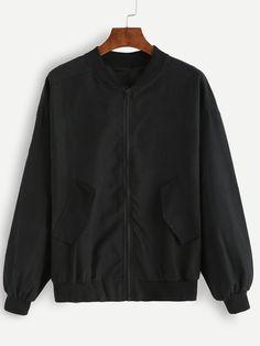Jackets by BORNTOWEAR. Ribbed Trim Zipper Bomber Jacket