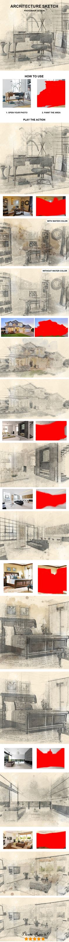 Architecture Sketch Photoshop Action - Photo Effects Actions