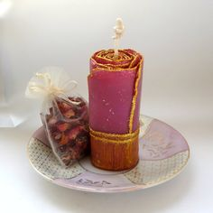 Unique Beeswax Candle Gift Set, Glitter Candle in Purple & Gold with Rose Petals & Lavender Sachet, by ForestCandleStudio