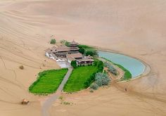Crescent Lake - Dunhuang, China - It's a real-life oasis. Dunhuang, Wonderful Places, Beautiful Places, Amazing Things, Amazing Places, Crescent Lake, Gobi Desert, Desert Oasis, Lake Water