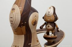 Wooden Robot Toys by Take-g: Amazing Japanese toys handmade of 4 kinds of wood with a joined wood construction.