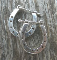 Silver horse shoe ear rings. Look closely they are dubble for extra luck !