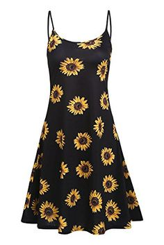22e38b89f90 cool Naggoo Womens Floral Print Spaghetti Strap A-Line Knee Length Summer  Beach Dress Floral