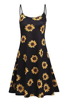 7a0d1ea5767 cool Naggoo Womens Floral Print Spaghetti Strap A-Line Knee Length Summer  Beach Dress Floral