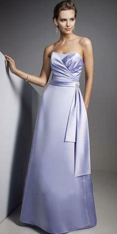 Light Sky Blue Strapless Sash Satin Floor Length Evening Dress