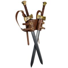 Dual LARP Sword Back Harness Double Sword by DarkKnightArmoury