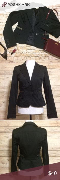 Ann Taylor LOFT Tailored Blazer Great quality, fully lined Ann Taylor Loft blazer. Structured/tailored solid black construction with white stripe detail atop faux pocket flaps. True to size but could possibly fit a 2 as well with the sleeves cuffed. LOFT Jackets & Coats Blazers