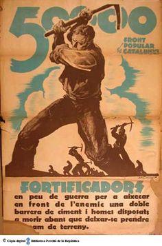 50 000 fortificadors de [sic] Front Popular de Catalunya : en peu de guerra per a aixeca en front de l'enemic una doble barrera de ciment ... :: Cartells del Pavelló de la República (Universitat de Barcelona)